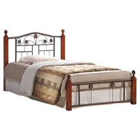 Full Size Metal & Wood Platform Bed with Headboard in Mahogany