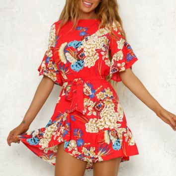 Fashion New Floral Print Short Sleeve Dress Women Red