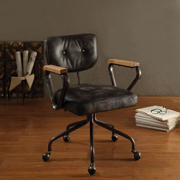 Acme 92411 Hallie vintage black top grain leather office chair with casters