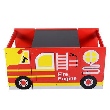Goplus Kids Multifunctional Wooden Bus-like Table and Chairs Set Drawing Board