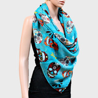 Sugar Skulls Blanket Scarf Day of the Dead Wrap - Aqua