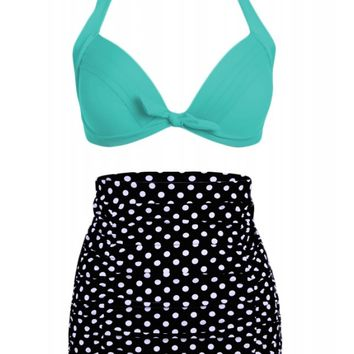 Pretty Attitude Women's Polka Dot High Waist Bikini Set With Turquoise Top