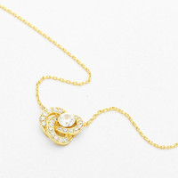 Cubic Zirconia Love Knot Cable Chain Pendant Necklace