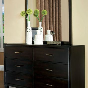 Delao Contemporary 6-Drawer Dresser and Mirror in Espresso
