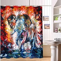 Colorful Elephant Print Shower Curtain (17 Options)