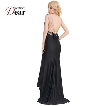 Comeondear Evening Formal Dress Backless Large Size O-Neck Robe Femme Long Maxi Mermaid Dress Back Bow Long Party Dress VK1017