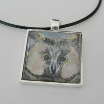 Bird Art Owl Art Glass Silver Pendant by maryrichmonddesign