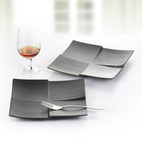 Foreign A5 black square plate shaped frosted Japanese sushi plate melamine melamine tableware Korean Western dish