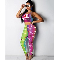 Champion Summer Newest Popular Women Casual Print Sleeveless Vest Top Pants Trousers Set Two-Piece