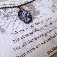 Lord of the Rings Map Necklace 'Not all those who wonder are lost' Tolkien Quote