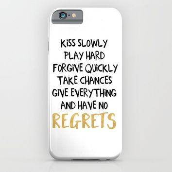 HAVE NO REGRETS life quote iPhone & iPod Case by deificus Art