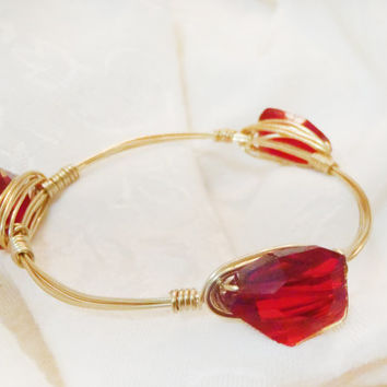 Deep Red Crystals On Wire Wrapped Bangle -  Dark Red Arrow Shaped Faceted Crystal On Solid Brass Non-Tarnish Wire