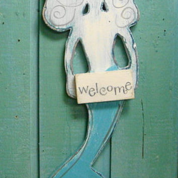 Welcome Mermaid Sign Weathered Wood Beach House Sign