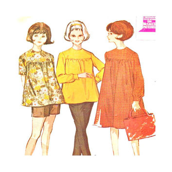 1960s Vintage Maternity Sewing Pattern McCalls 6995 Misses Dress or Top Shorts Pants Separates