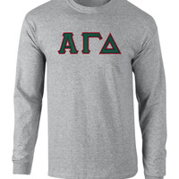 Alpha Gamma Delta Twill Letter Long Sleeve Tee