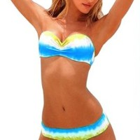 Fashionable Blue White Yellow To Mix Women Sexy Bikini 2 Pcs Strapless Swimsuit