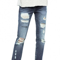 Rip Jeans In Wash Blue