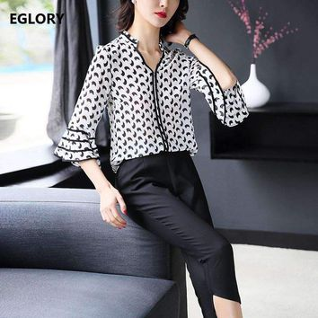 2 Pieces Set Clothing New 2018 Spring Summer Office Business Women Print Flare Sleeve Chiffon Blouse+Skinny Pants Set Leisure