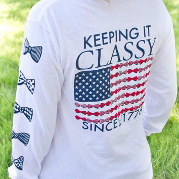 White Bowknot And Letter Print Long Sleeve Sweatshirt