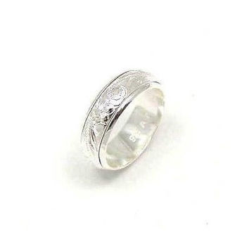 SILVER 925 HAWAIIAN PLUMERIA SCROLL SPINNING RING SZ 6