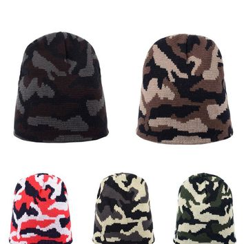 1pc New Fashion Camouflage Skullies Knit Cotton Hats for Men Warm Knitted Woolen Caps Hip Hop Adult Casual Natural Beanies