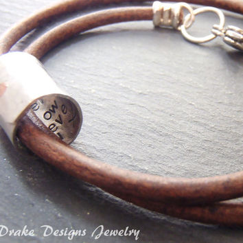 Mens personalized Boyfriend gift mens leather bracelet anniversary for her bracelet hidden secret message