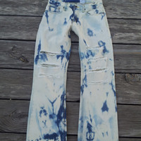 Acid Wash Distressed Levi's Jeans