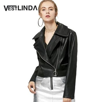 VESTLINDA 2017 Women New Casual Jackets Zip Up Faux Leather Cropped Biker Jacket Motorcycle Cropped Biker Coat Female Outwear