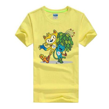 Commemorative Tees Rio 2016 Olympic Games Round Neck T-Shirt Mascot-XXL Yellow