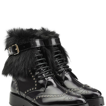 Burberry Shoes & Accessories - Leather Ankle Boots with Shearling