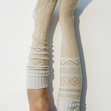 Patterned Knee High Socks in Ivory