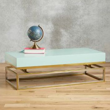 Tracey Boyd Lacquered Rectangular Coffee Table in Mint Size: One Size Furniture