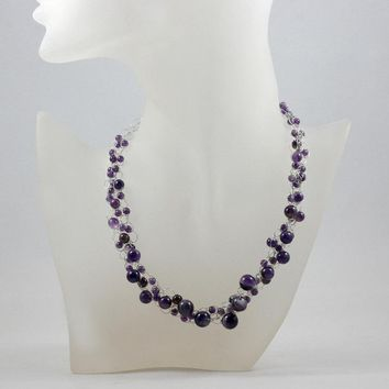 Amethyst chunky crocheted choker statement bold necklace bridesmaids gifts Free US Shipping handmade Anni designs