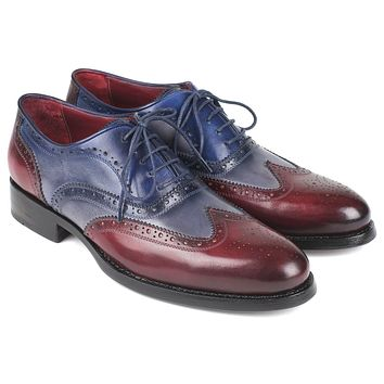 Paul Parkman Wingtip Oxfords Goodyear Welted Bordeuax Grey Blue Shoes (ID#BR027GRBL)