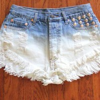 Ombre Cutoff Denim Shorts with Studded Pocket Detail