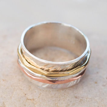 Spinner ring, Three bands spinners ring, Spinner ring, Anxiety ring ,Fidget ring , Meditation ring , sterling silver ring, Elegant spinner