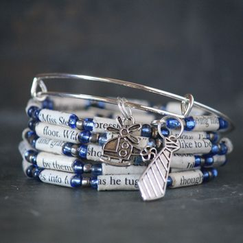 Fifty Shades of Grey Book Bead Charm Bracelet Gift Set