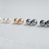 Pearl Stud Earrings Bridesmaid Jewelry Wedding Jewelry Mother of the Bride Gift Swarovski Sterling Silver