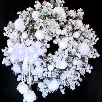 "Snowball wreath, ""First Snowfall"", wreath for door, winter wreath, french country wreath, front door wreath, snow wreath, let it snow"