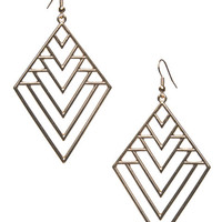 Diamond-Shaped Cutout Earrings | Wet Seal