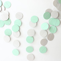 Mint Green & Gray Paper Garland, Wedding Decor, Bridal Shower, Gender Neutral, Baby Shower, Party Decor, Photo Prop, Nursery Decor
