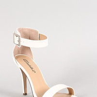 Breckelle Leatherette Ankle Buckle Open Toe Heel Color: Light Blue, Size: 7.5