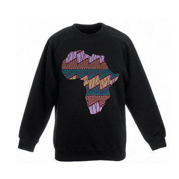 Sweater Black with Africa Shape application, made out of Holland Vlisco waxprint, print of turkoise, brown, purple, streetwear, urban