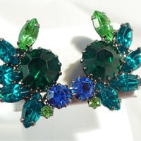 Terrific Turquoise, Green, Royal Blue Rhinestone Earrings, Multi-Color