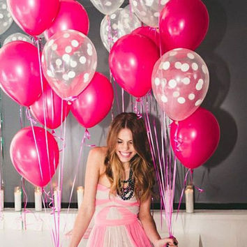 Bright Pink and Clear White polka dot party balloon decorations
