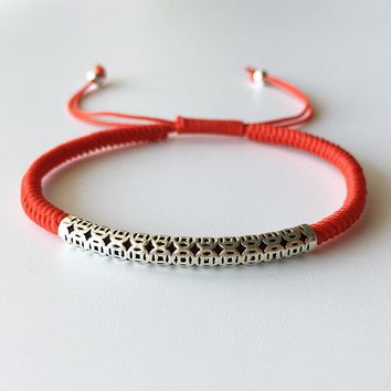 925 Sterling Thai Silver  Lucky Red Rope Shamballa Bracelet Handmade Bangle Wax String Amulet Jewelry