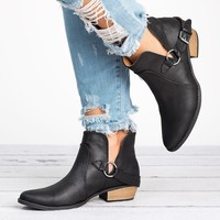 Sochi Buckle Booties-Black