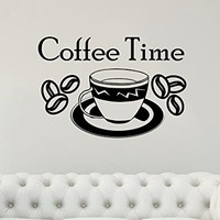 Wall Decal Coffee Time Vinyl Sticker Decals A Cup Of Coffee Kitchen Cafe Canteen Home Decor Art Bedroom Design Interior C354