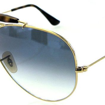 RAY BAN 3138 62 SHOOTER GOLD HAVANA LENS BLUE GRADIENT REMIX CUSTOMIZED