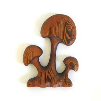 vintage 1970s wooden mushroom wall decor // carved wood 3D mushroom wall hanging